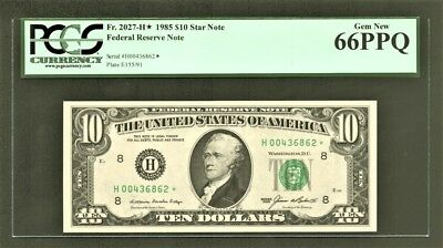 $10 1985 Federal Reserve *STAR* Note (H*) St. Louis PCGS Gem New 66PPQ