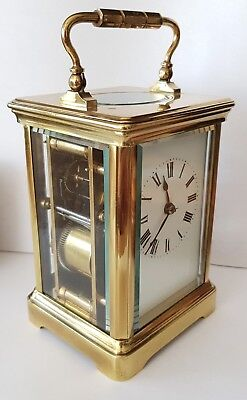 Carriage Clock Striking Antique Made In France 8 Day Brass Key Fully Working