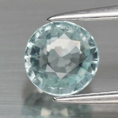 1.09ct 6.4mm Round Natural Unheated Light Bluish Green Aquamarine, Brazil