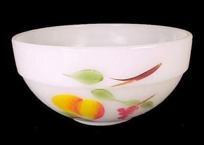 "Fire King Gay Fad Fruits Milk Glass 6"" Mixing Bowl Anchor Hocking Vintage 1950s"