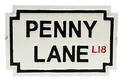 New Penny Lane Large Heavy Rustic Cast Iron Plaque Street Brick Wall House Sign
