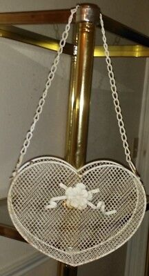 "Vintage Chain Hanging Wire Planter,Heart Shape Basket Pocket 21 1/2"" Tall Strong"