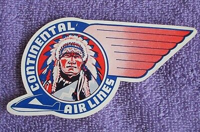 Vintage Airline Luggage Label*CONTINENTAL AIRLINES*1940s-50s*MINT* Free Ship