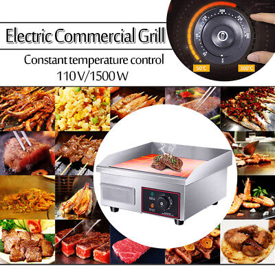 "14"" Electric Countertop Griddle Flat Top Commercial Restaurant Grills BBQ 110V"