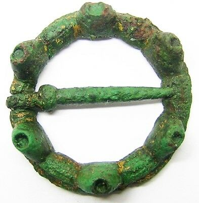 13th century A.D. Excavated Medieval Turreted Bronze Ring Brooch intact with pin
