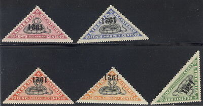 """Liberia 1921 SNAKE registration triangles, all INVERTED """"1921"""" MINT $$ #F25-9"""