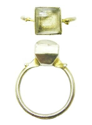 12th - 13th century Medieval Silver Gilt & Rock Crystal Episcopal Finger Ring