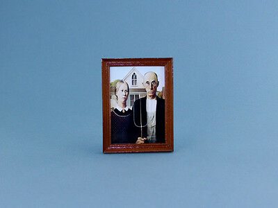 NICE 1:12 Scale Dollhouse Miniature Framed American Gothic Picture #HC320