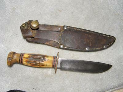 Vintage Stag Marbles Fixed Blade Knife & Original Sheath