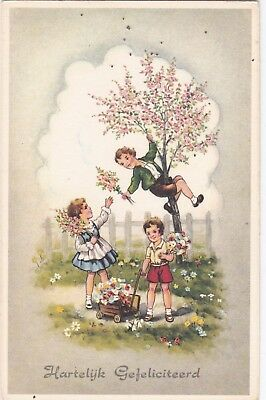 v children early old antique postcard greetings comic