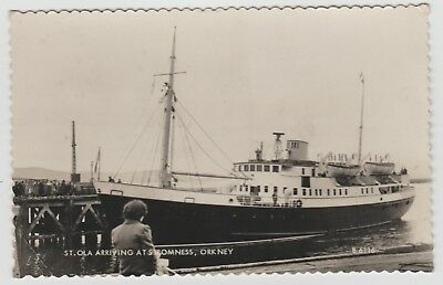 The New St.Ola (II), Built 1951, Arriving Stromness in 1952:~Old RP PPC, G.Used.