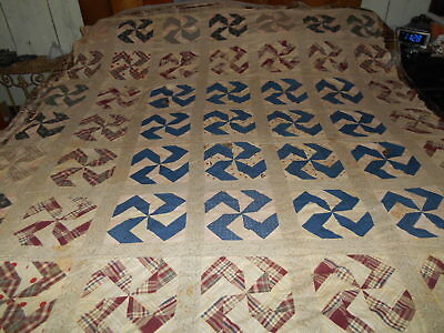 Antique Pinwheel Quilt Top Early 1900's