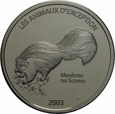 2003 Congo Large Silver Proof  10 Francs- Skunk
