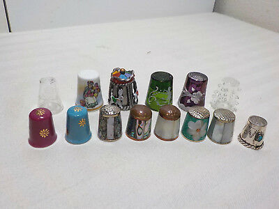 14 Vintage Thimbles Collectible Limoges*royal Doulton*mary Gregory*germany Glass