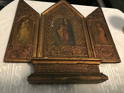 Old Antique Catholic Religious Hand Painted Triptych Icon From Carmelite Nuns Co