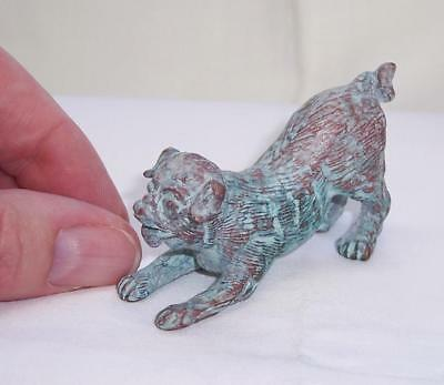 LOVELY Vintage PATINATED Solid BRONZE Metal PUG DOG Playing/Puppy MINIATURE