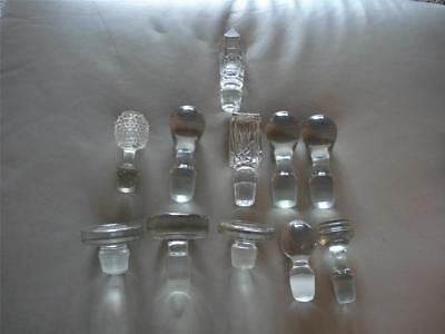 Lot of 11 Vtg Clear Glass Crystal Large Bottle Stoppers Toppers