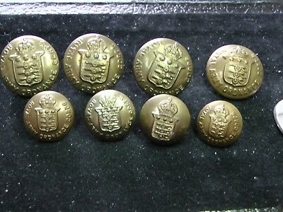 Mixed Set ~ 8 Kc British Royal Army Ordnance Corps  Brass Tunic Buttons Wwi Wwii