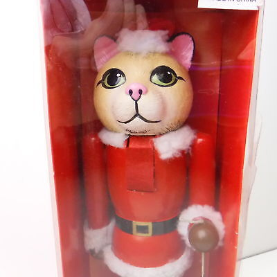 Cat Nutcracker Dressed as Santa Holding a Mouse Wooden