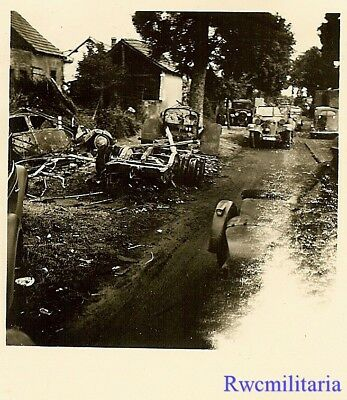 HASTY RETREAT! Abandoned & Wrecked Allied Vehicles Lining Roadway; France 1940!