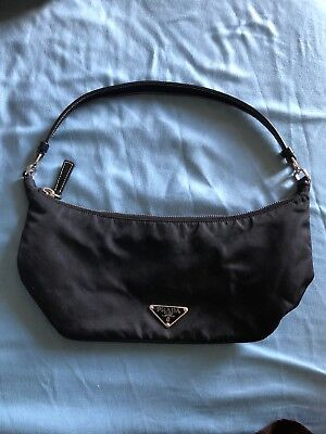 b93ece21ed Retired Authentic Prada Black Nylon   Leather Shoulder Bag HandBag Purse