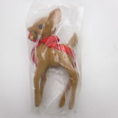 "Flocked 6"" Reindeer With Red Bow and Bell Vintage Old Store Stock!"