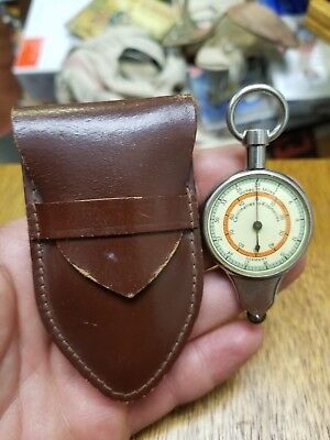 Vtg GERMAN Compass Map Measure Reader-CM to KM & Inches to Miles w leather Pouch