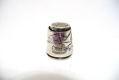 Thimble Silvertone W/etched Silver Wrap Of Horse Drawn Sled Thru Covered Bridge
