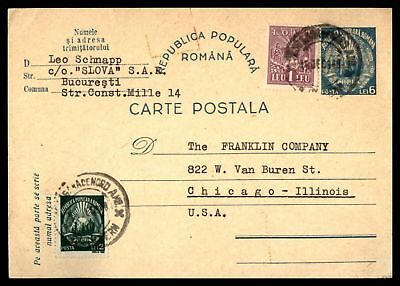1948 Bucuresti Dec 15Th Uprated Issue Card To Chicago Il Usa