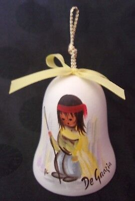 1989 DeGrazia Christmas Bell Ornament Pottery