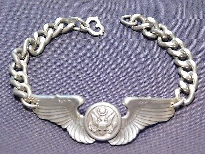 A+ WWII US Army Sterling Bracelet Pilot Crewman Wing Pin Trench Art AAF