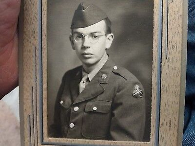 "WWII photo of bespectacled 36th Corps artilleryman. 3.5""x 5""."