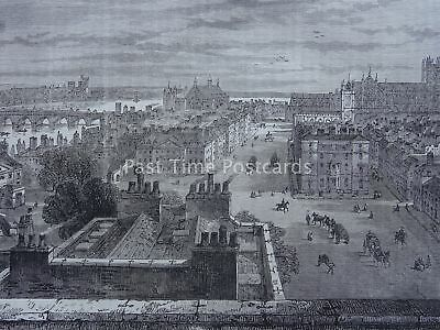 London WESTMINSTER FROM THE ROOF OF WHITEHALL 1807 Original Victorian Print 1878