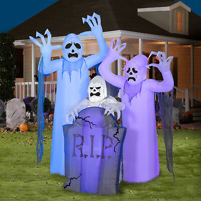 Magic Halloween Airblown Inflatable Shortcircuit Ghosts Trio Tombstone Scene...