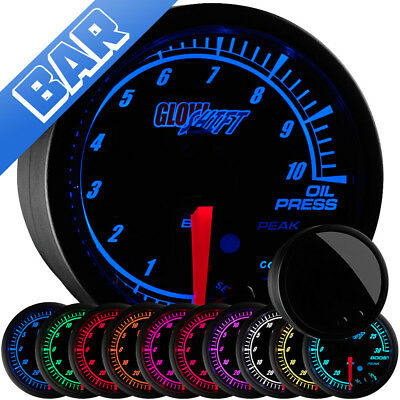 52mm GlowShift Elite 10 Color BAR Metric Oil Pressure Press Gauge - GS-ET04-BAR