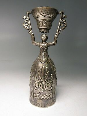 Antique German 800 Silver Ornate Woman Wedding Toasting Cup Goblet