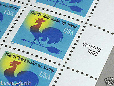 """The """"H"""" Rate Make-up Postage Stamp USA 1 Cent 1998 RARE"""