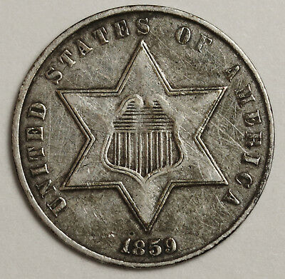 1859 3 Cent Silver.  X.F. Detail.  130902