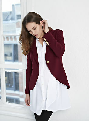 Isabella Oliver Maternity Tailored Suit Blazer, Red Wine Jacket Small 4 6 New