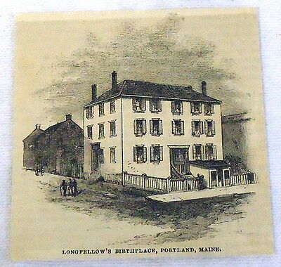 1882 small magazine engraving~ HENRY LONGFELLOW'S BIRTHPLACE, Portland, Maine