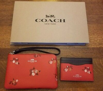 NWT COACH F32006 FLAT CARD CASE & F34316 WRISTLET BABY BOUQUET RED Gold BOX $140
