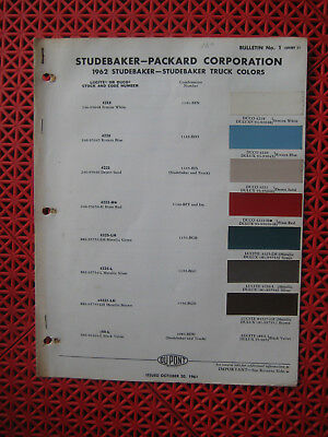 1962 Studebaker car / 1962 Studebaker truck paint chip color chart - brochure