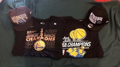 Lot Of Brand New Warriors 2018 Championship  Gear 2 Tee Shirts And 2 Hats