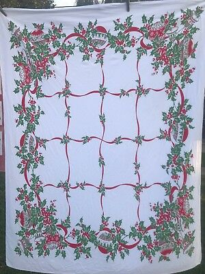 Vintage White With Green & Red Holly & Ribbons Christmas Print Tablecloth