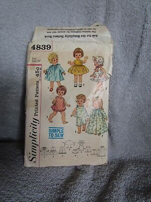 "Vtg  Simplicity #4839 Doll Clothes Pattern for 15"" Dolls Cut & Complete"