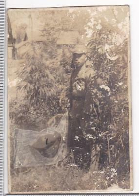 WWII Photo Imperial Japanese Army IJA Invader Rifle with Flag China Pre-1939