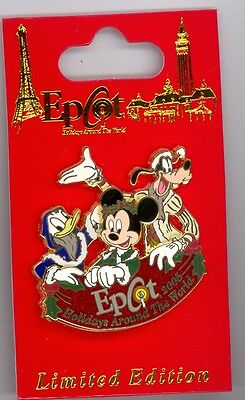 Disney Epcot Holidays Around the World Donald Duck Goofy Mickey Mouse LE Pin