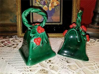 Pair Vtg Lefton China Ceramic Christmas Green Red Holly Berry Bells W/ Clappers