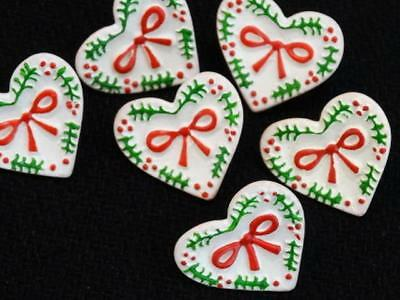 """SET 6 DISCONTINUED RED GREEN & WHITE HEART BUTTONS Christmas Holiday 15/16"""""""