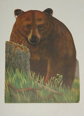 Vintage Children's Bear Shaped Book 1945 Mother and Baby Animal Paper